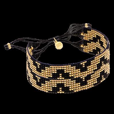 Złoto-czarna plecionka z geometrycznym wzorem