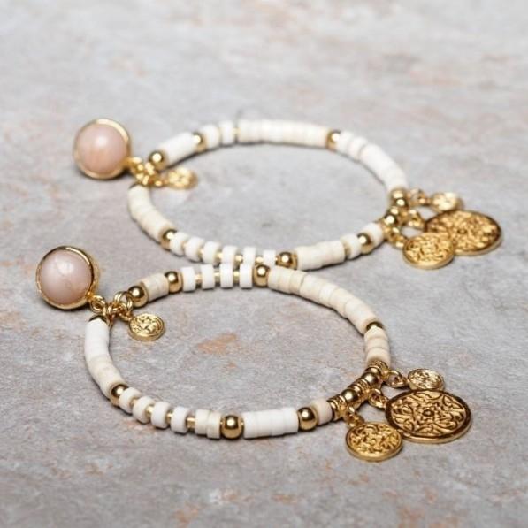 Howlite circle earrings with medallion Mokobelle