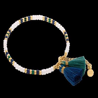 Bransoletka z perełek i kamieni naturalnych z dwoma chwostami