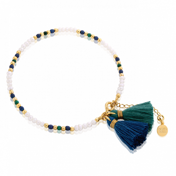 Bracelet with pearls and natural stones with two tassels