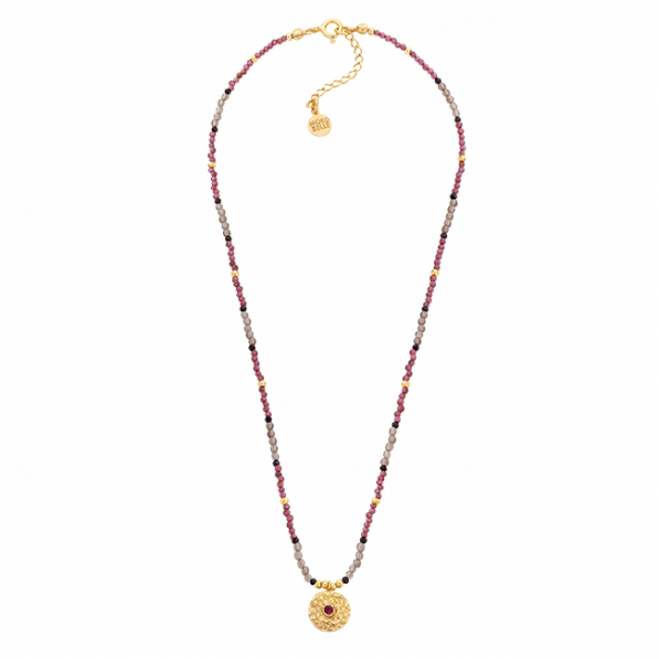 Natural stones necklace with garnet rosette